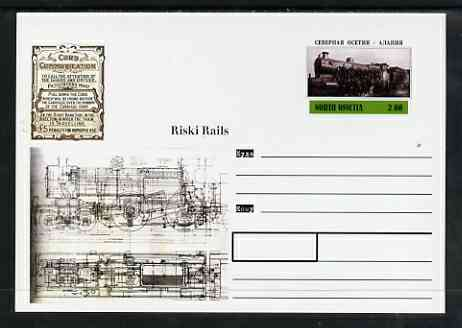 North Ossetia Republic 1999 Steam Locomotives #4 postal stationery card unused and pristine