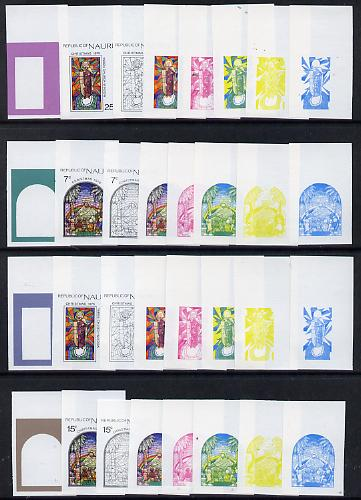 Nauru 1975 Stained Glass Windows Christmas set of 4 each x 8 imperf progressive proofs comprising the five individual colours plus three combination composites, scarce (32 proofs)