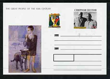 North Ossetia Republic 1999 Great People of the 20th Century #1 postal stationery card unused and pristine showing Picasso