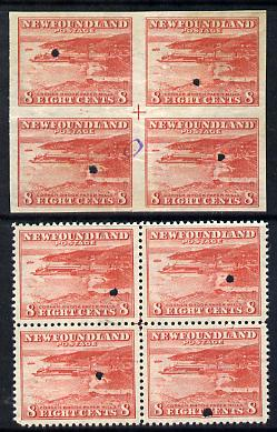 Newfoundland 1941-44 KG6 Paper Mills 8c in perf & imperf proof blocks of 4 from Waterlow archives, each stamp with security punch hole, some wrinkling but very scarce (SG 282)