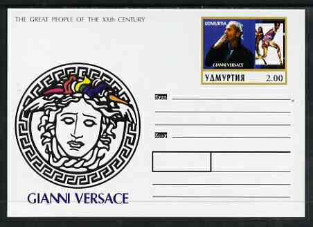 Udmurtia Republic 1999 Great People of the 20th Century #3 postal stationery card unused and pristine showing Gianni Versace