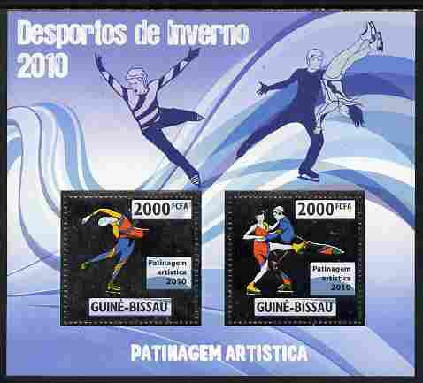 Guinea - Bissau 2010 Winter Olympic Sports - Figure Skating perf sheetlet containing 2 values in silver unmounted mint