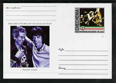 Chechenia 1999 Great People of the 20th Century #2 postal stationery card unused and pristine showing Keith Richards & Mick Jagger
