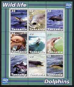 Tanzania 2003 Wild Life - Dolphins perf sheetlet containing set of 9 values unmounted mint