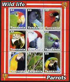 Tanzania 2003 Wild Life - Parrots perf sheetlet containing set of 9 values unmounted mint