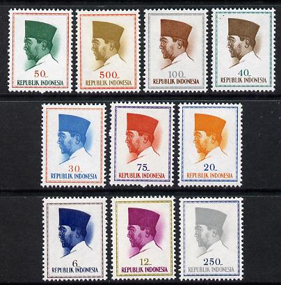 Indonesia 1965 Pres Sukarno Def set 6r to 500r - 10 values complete (SG 987-96) unmounted mint*