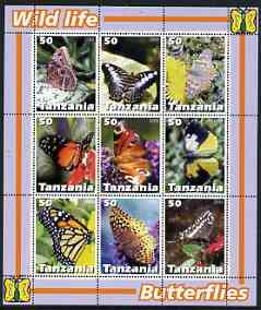 Tanzania 2003 Wild Life - Butterflies perf sheetlet containing set of 9 values unmounted mint