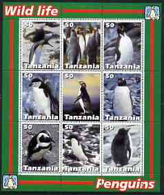 Tanzania 2003 Wild Life - Penguins perf sheetlet containing set of 9 values unmounted mint