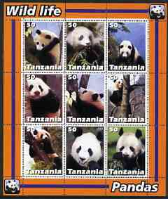 Tanzania 2003 Wild Life - Pandas perf sheetlet containing set of 9 values unmounted mint