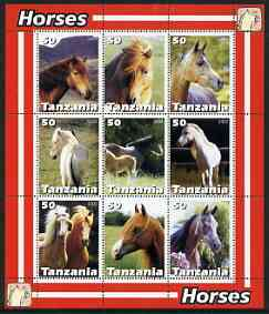 Tanzania 2003 Horses perf sheetlet containing set of 9 values unmounted mint
