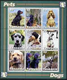 Tanzania 2003 Pets - Dogs perf sheetlet containing set of 9 values unmounted mint