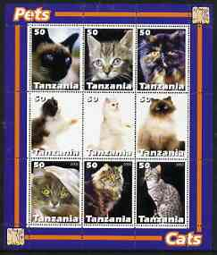 Tanzania 2003 Pets - Cats perf sheetlet containing set of 9 values unmounted mint