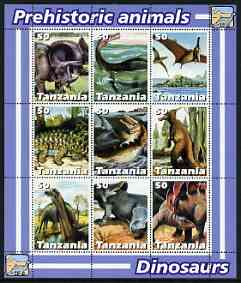 Tanzania 2003 Prehistoric Animals perf sheetlet containing set of 9 values unmounted mint