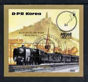 North Korea 1984 Essen Stamp fair - Railway Locomotives perf  m/sheet cto used SG MS N2399