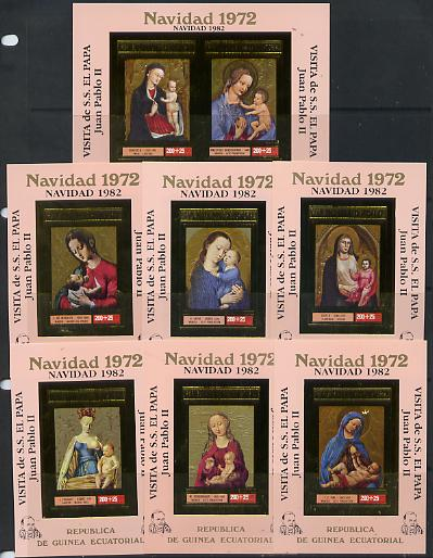 Equatorial Guinea 1982 Pope's Visit opt in black on 1972 Christmas set of 7 imperf sheetlets in gold with pink background unmounted mint