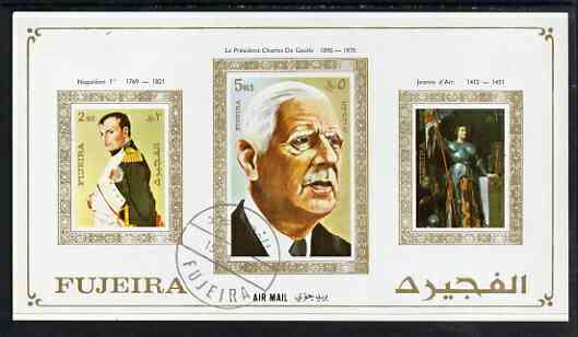Fujeira 1972 (?) imperf m/sheet showing Napoleon (2R) De Gaulle (5R) & Joan of Arc (3R) cto used