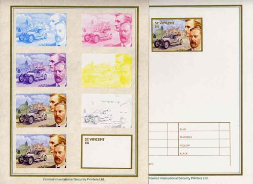 St Vincent 1987 Centenary of Motoring $4 Charles Rolls & Sir Henry Royce with 1907 Silver Ghost set of 9 imperf progressive proofs comprising the 5 individual colours plus 2, 3, 4 and all 5 colour composites mounted on special Format International cards (9 proofs as SG 1087)