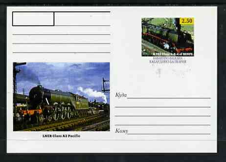 Kabardino-Balkaria Republic 1999 Steam Locomotives of the World #05 postal stationery card unused and pristine showing A 242 Class 4-8-4 of RENFE and LNER Class A3 Pacific