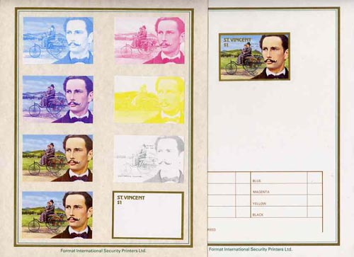 St Vincent 1987 Centenary of Motoring $1 Karl Benz with 1886 three-wheeler set of 9 imperf progressive proofs comprising the 5 individual colours plus 2, 3, 4 and all 5 colour composites mounted on special Format International cards (9 proofs as SG 1085)