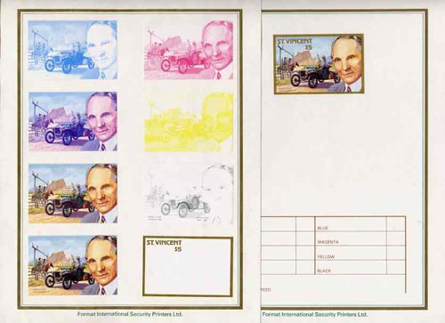 St Vincent 1987 Centenary of Motoring $5 Henry Ford with model 'T' set of 9 imperf progressive proofs comprising the 5 individual colours plus 2, 3, 4 and all 5 colour composites mounted on special Format International cards (9 proofs as SG 1088)