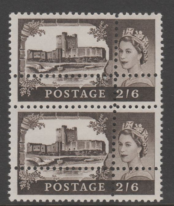 Great Britain 1967 Castles (no wmk) 2s6d vertical pair with perforations doubled (stamps are quartered) an attractive and interesting modern forgery, unmounted mint.  Note: the stamps are genuine but the additional perfs are a slightly different gauge identifying it to be a forgery.
