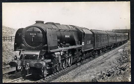 Postcard by Ian Allan - LMS Up Royal Scot headed by Princess Coronation Class 4-6-2 No.6223 Princess Alice, black & white, unused and in good condition