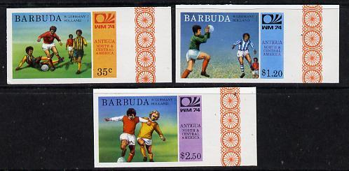 Barbuda 1974 World Cup Football Winners imperf set of 3 (unissued with names of teams) unmounted mint
