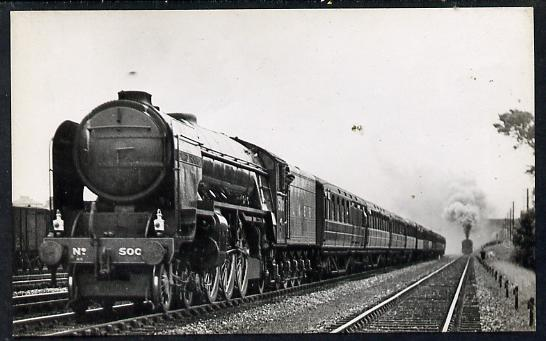 Postcard by Ian Allan - LNER Kings Cross to Newcastle Express Class A2 4-6-2 No.500 Edward Thompson, black & white, unused and in good condition