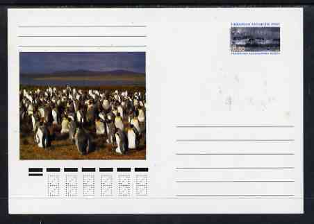Ukranian Antarctic Post 1998 Polar Life #1 postal stationery card unused and pristine showing Scenic View & Penguins, stamps on polar, stamps on birds, stamps on penguins