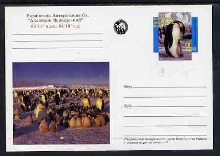 Ukranian Antarctic Post 1998 Polar Life #3 postal stationery card unused and pristine showing Penguins
