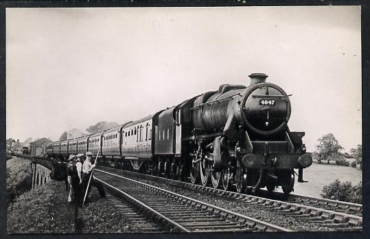 Postcard by Ian Allan - LMS up Edinburgh to St Pancras Express hauled by Class 5 4-6-0 No.4847, black & white, unused and in good condition