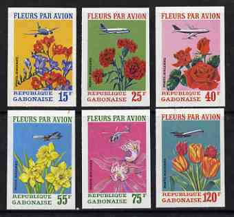 Gabon 1971 Flowers by Air imperf set of 6 from a limited printing unmounted mint, as SG 410-15
