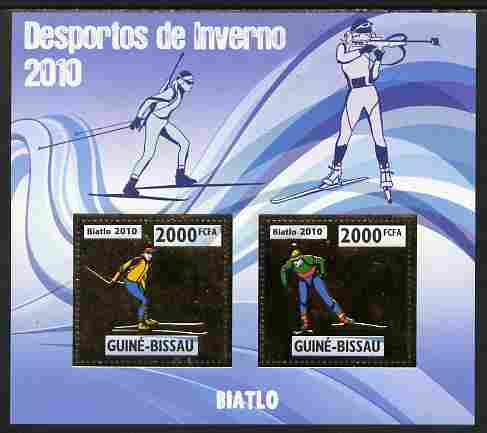 Guinea - Bissau 2010 Winter Olympic Sports - Biathlon perf sheetlet containing 2 values in gold unmounted mint