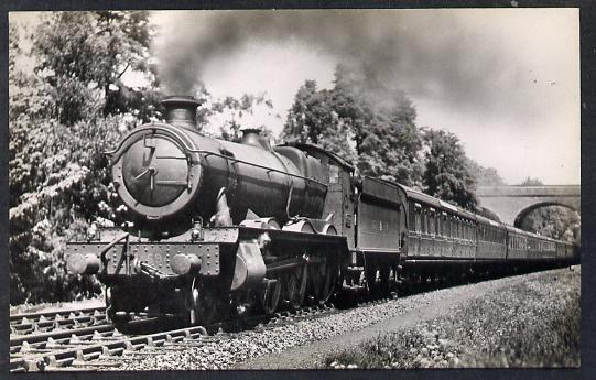 Postcard by Ian Allan - GWR Down Weymouth Express hauled by Hall Class 4-6-0 No.6944 Fledborough hall, black & white, unused and in good condition