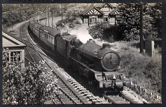 Postcard by Ian Allan - GWR Down Cornish Riviera hauled by 4-6-0 No.6000 King George V, black & white, unused and in good condition