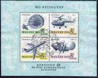 Hungary 1967 'Aerofila '67' Airmail Stamp Exhibition #2 perf m/sheet (Parachute, Helicopter, Airliner & Lunar 12 ) used with special cancel, SG MS 2272