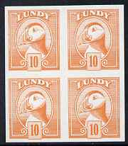 Lundy 1982 Puffin def 10p pale orange in issued colour imperforate unmounted mint block of 4