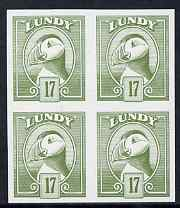 Lundy 1982 Puffin def 17p green in issued colour imperforate unmounted mint block of 4