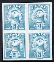 Lundy 1982 Puffin def 21p pale blue in issued colour imperforate unmounted mint block of 4