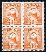 Lundy 1982 Puffin def 14p orange perf colour trial (the colour of the issued 10p) unmounted mint block of 4