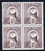 Lundy 1982 Puffin def 17p brown-purple perf colour trial (the colour of the issued 18p) unmounted mint block of 4