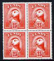 Lundy 1982 Puffin def 23p vermilion perf colour trial unmounted mint block of 4