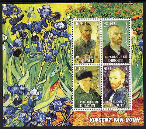 Djibouti 2003 Vincent Van Gogh perf sheetlet containing 4 values unmounted mint