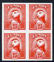 Lundy 1982 Puffin def 23p vermilion imperf colour trial unmounted mint block of 4