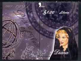 Liberia 1997 Princess Diana Memorial perf m/sheet (Diana in Mourning with Zodiac signs) unmounted mint
