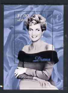 Liberia 1997 Princess Diana Memorial perf m/sheet (B & W half length portrait with background of blue-grey roses) unmounted mint
