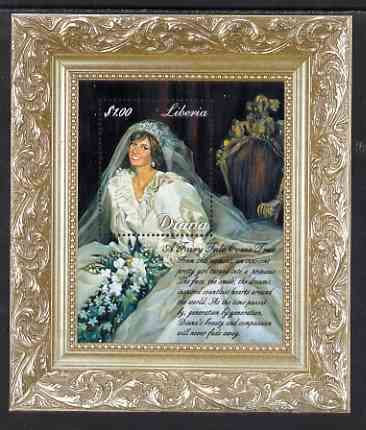 Liberia 1997 Princess Diana Memorial perf m/sheet (Diana in her Wedding Dress enclosed in picture frame) unmounted mint