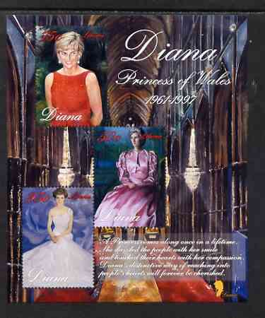 Liberia 1997 Princess Diana Memorial perf sheetlet containing 3 values (various portraits) unmounted mint