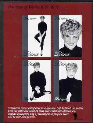Liberia 1997 Princess Diana Memorial perf sheetlet containing 4 values (B & W studio poses) unmounted mint