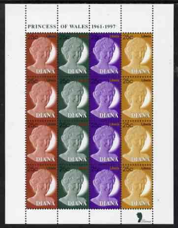 Liberia 1997 Princess Diana Memorial perf sheetlet containing 4 strips of 4 values (25c Portrait stamps in 4 colours) unmounted mint